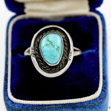 Antique Vintage Native Pawn Navajo Sterling Silver Blue Bird Turquoise Ring Sz 6