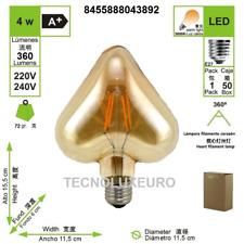 Bombilla LED filamento corazon E27  2700 K luz cálida 4 W tecnoluxeuro