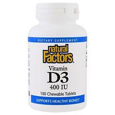 Natural Factors, D3 for Kids, Strawberry Flavor, 400 IU, 100 Chewable Tablets