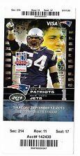 2013 NEW ENGLAND PATRIOTS VS NEW YORK JETS TICKET STUB 9/12/13 TOM BRADY