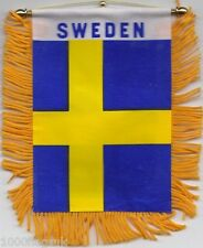 Sweden Swedish Flag Hanging Car Pennant for Car Window or Rearview Mirror
