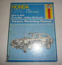 Classic Car Honda Civic  Workshop Repair Manual Book  1975-1976