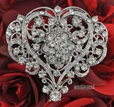 Clear Rhinestone Crystal Heart Flower Brooch Breastpin Wedding Gift Jewelry New