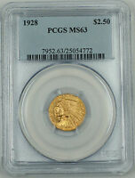 1928 Indian $2.50 Quarter Eagle Gold Coin, PCGS MS-63