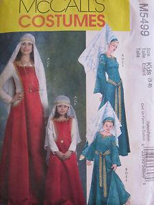 McCalls 5499 Dress Veil Hat Medieval Renaissance Belt PATTERN Sizes 3-8 UNCUT