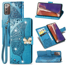 For Samsung Galaxy Note 20 Ultra 5G/20 Bling Leather Butterfly Flip Case Cover