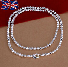 925 Sterling Silver plated Bead Necklace 4mm Ball 20 Inch Ladies Girls Gift UK