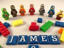 Comestible Fondant ladrillos Lego Ninjago & Cake Topper Decoración De Cumpleaños