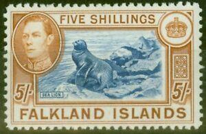 Falkland Is 1938 5s Blue & Chestnut SG161 Fine Very Lightly Mtd Mint