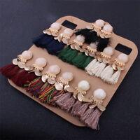 Vintage Womens Tassel Earrings Dangle Alloy Resin Bohemian Fashion Pendant