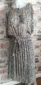 Vintage Domino D 1970s Floral Chiffon Dress Size 14 UK Ossie Clark/Radley