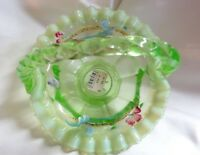 Fenton Art Glass Hand Painted Key Lime Green Opalescent Basket