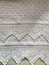 Vintage Antique HandmadeTable Runner Crochet Drawnwork Lace 18.5 x 19.5
