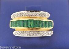 14kt Yellow Gold 2.00 CT Diamond & Emerald Ring 7.8gm Size 7