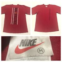 Vintage Nike Athletics Spell Out Tee Red Mens Medium White Tag USA Made