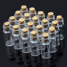 20X 2ml Leere Glasflaschen Wunsch Glas Flaschen Transparent mit Korken
