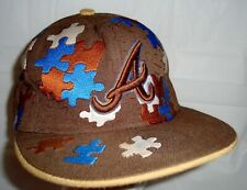 Atlanta Braves New Era Fitted Baseball Cap Brown Blue White Puzzle Pieces 7 5/8