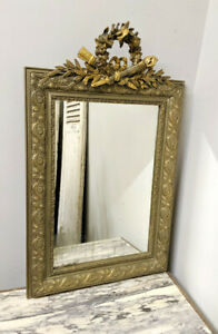 BEAUTIFUL FRENCH ANTIQUE LOUIS XVI CRESTED MIRROR - TORCH and QUIVER