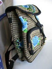Embroidered detail black cotton canvas backpack NEW