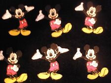 MICKEY MOUSE 100%  CLOTH APPLIQUES (6 ) IRON ON