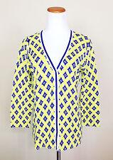 New Jones New York Signature L Cardigan Sweater Yellow Blue Geometric Circle