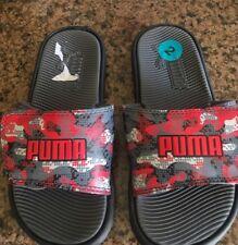 Puma boy's slide sandal 2 black/red/grey NWOT