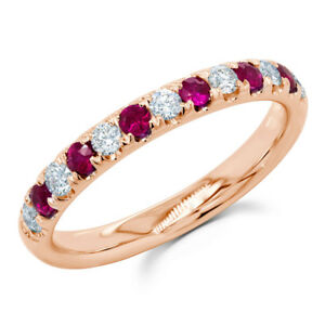 14K Rose Gold Ruby Diamond Ring Wedding Band Anniversary Engagement Round Womens
