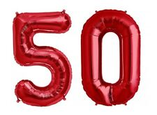 "Giant 40"" 50 Hot Red Number Balloons 50th Birthday Anniversary Foil Float Helium"