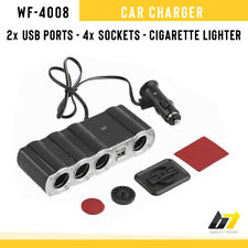 Car Charger Cigarette Lighter Adapter WF-4008 2 USB Ports 4 Sockets LED Lights