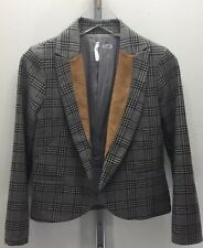 Willow & Clay Women Tweed Check Short Jacket Blazer Grey Tan Long Sleeve Small