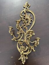 """Home Interiors Syroco #4049 Ornate Gold 5 Arm Wall Sconce Candle Holder 35""""H"""
