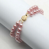 7-8mm Real Pink Purple Akoya Cultured Pearl 18KGP Flower Clasp Bangle Bracelet