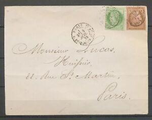 1876 Env. Cérès 5c vert + 10C brun rose Obl Paris R. St-DOMque-St-Gn 53 X3116
