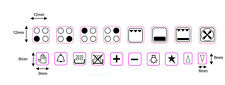 STOVE STICKERS 4 RING HOB COOKER TOP + OVEN DECALS LABELS MARKINGS + 14 SYMBOLS