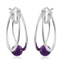 Hoops Hoop Earrings 925 Sterling Silver Purple Turquoise Gift Jewelry Ct 2.8