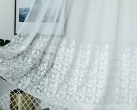 "Slot Top Voile Panels Embroidered Net Curtain MILLY - WHITE 48 54 72 81 90"" Drop"