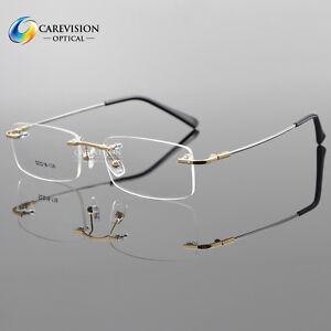 Titanium Alloy Rimless Flexible Eyeglasses Frame Rectangle Eyewear Frame Glasses