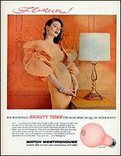 1956 Sexy woman pink dress Westinghouse pink bulbs vintage photo print ad adl82
