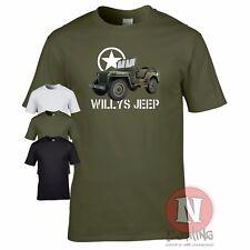Willys jeep t-shirt militaire nostalgie WW2 d-day historique véhicules allia