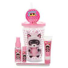 Ty Beanie Boo Rocco Raccoon Insulated Cup Berry Hand Lotion Lip Balm Beauty Set