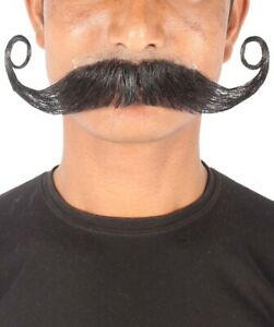 HPO Men's Human Hair Curly Mustache Cosplay Facial Hair M-1305