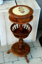 Stunning Vintage wood French Sewing Table stand needlepoint Floral top Drawer
