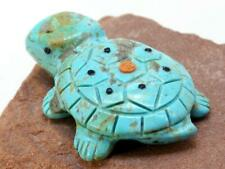 Zuni Turquoise Turtle Tortoise Fetish Carving by Reynold Lunasee Native American