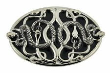 Snake Belt Buckle Silver Metal Animal Gothic Tattoo Tribal Fashion Costume Rodeo