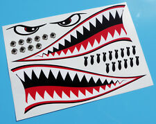 RC Aircraft Plane FLYING TIGER SHARK TEETH MOUTH decal sticker 300mm set WW11