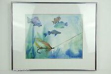 Crappie Walleye Sunfish Fishing Framed Watercolor Original Art - Sharon Rose