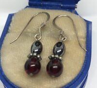 Vintage Sterling Silver Earrings 925 Drop Dangle Hematite Red Stone