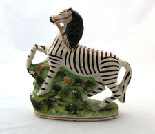 Antique Staffordshire ceramic Zebra pottery Victorian Era glazed animal figure