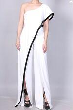 White Black One Shoulder Ruffle Slit Wide Leg Jumpsuit Dress Pantsuit