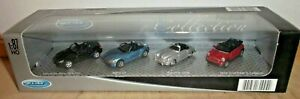 WELLY Premium Collection 4 Car Mercedes SLK BMW Z4 Porsche 356B Mini Cabrio Ob